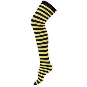 Yellow & black stripe thigh highs