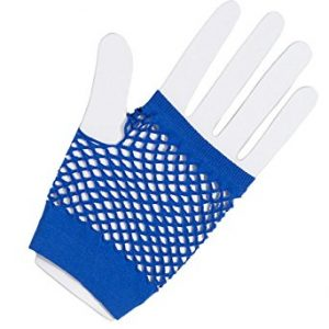 Royal blue fishnet gloves