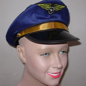 Blue pilot hat with badge.