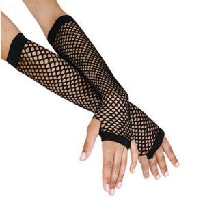 Black fishnet gloves long