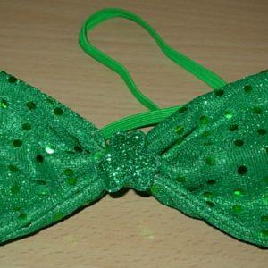 Green sequin bowtie with shamrock