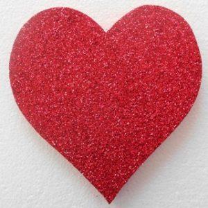 Polystyrene glitter heart