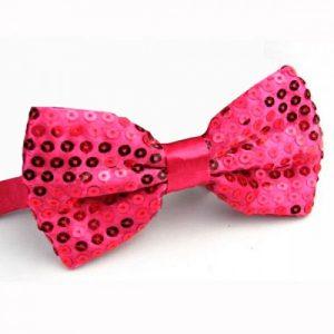 Pink sequin bowtie