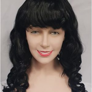 Black curly wig with fringe