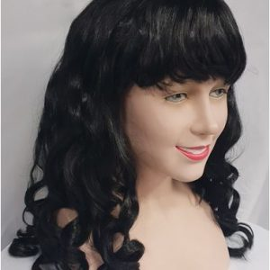 Curly black wig with fringe