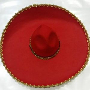 Red sombrero with gold trim