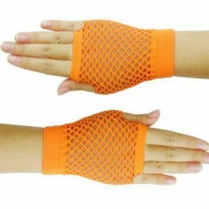 Neon orange short fishnet gloves
