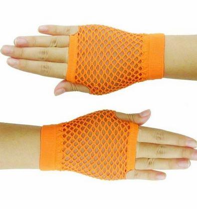 Neon orange short fishnet gloves
