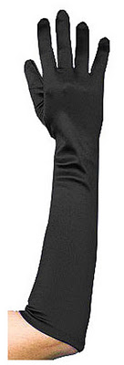 elbow length black gloves
