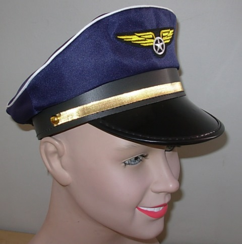 Pilot hat with gold band