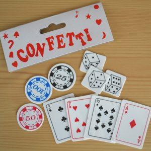 Poker-dice-card table decor