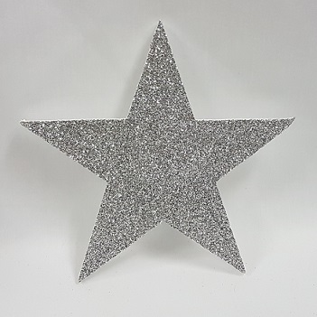 Silver glitter poly stars