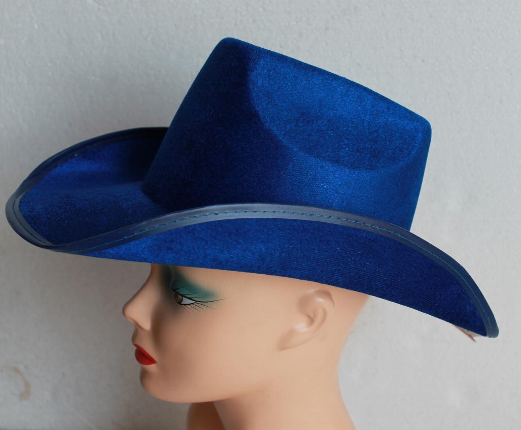Cowboy hat – velvet blue – Code  4220 – Scalliwags Costume Hire dd5172e1e62