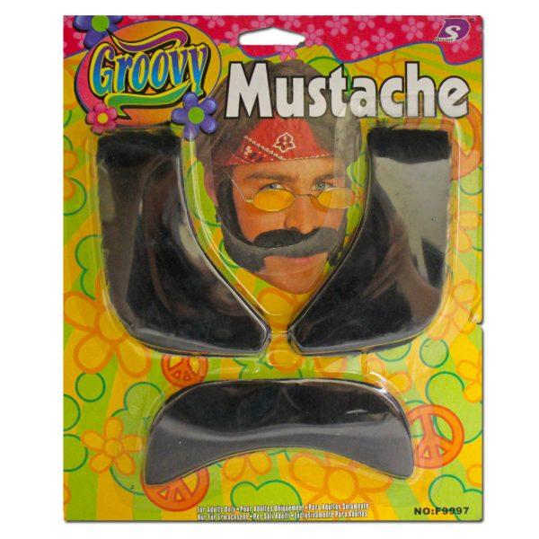 Hippie moustache & sideburns