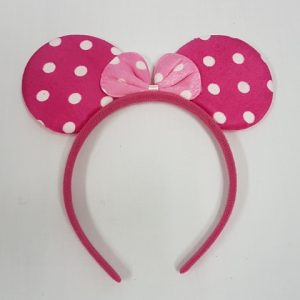 Pink polka dot mouse ears on headband
