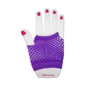 Purple fishnet short gloves