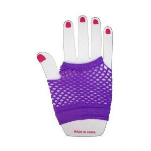 Purple fishnet short gloves