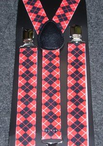 Red check suspenders