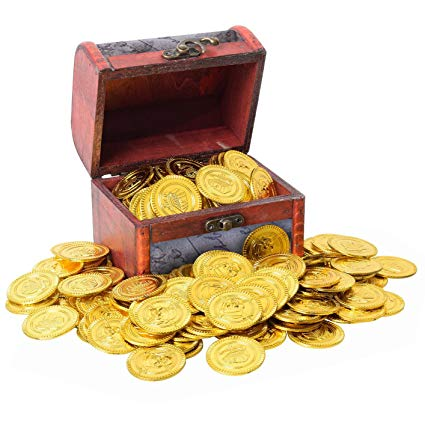 Gold coins plastic