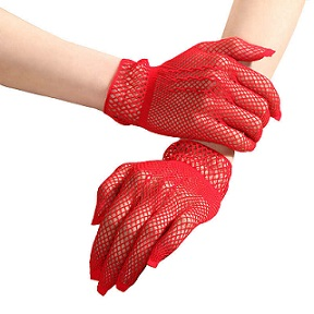 Red mesh gloves