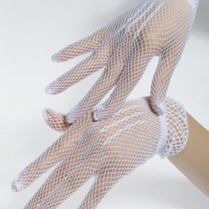 short white fishnet gloves