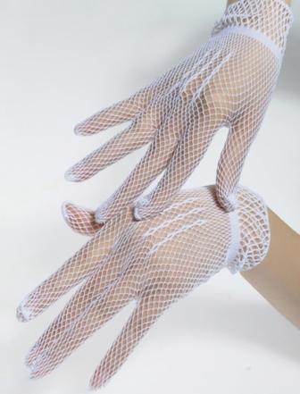 short white fishnet gloves