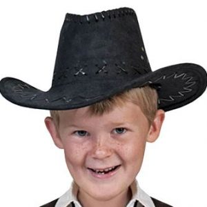 Child black suede cowboy hat