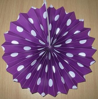 Polka dot fan decoration purple