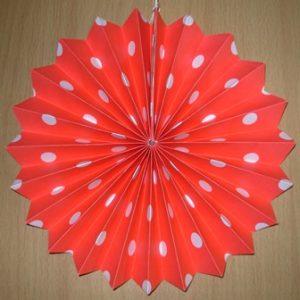 Polka dot fan decoration red