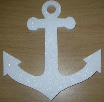 White polystyrene glitter anchor