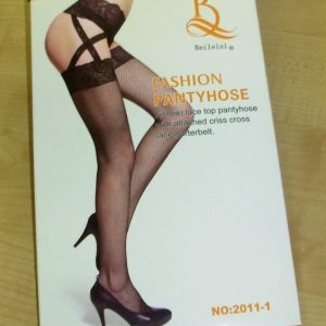 Fishnet pantyhose with lace garter belt