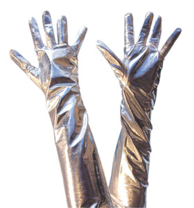 Long silver gloves