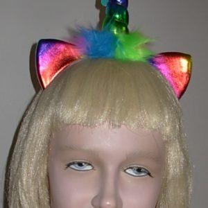 Rainbow coloured unicorn headband