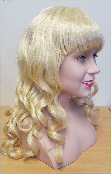 Blonde curly wig side