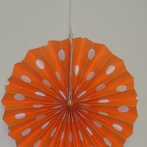 Orange polka dot fan decoration