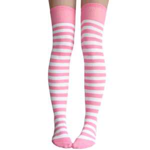 Pink & white stripe thigh highs