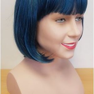 Blue black bob wig side