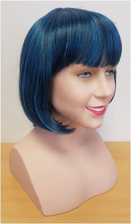 Blue black bob wig side