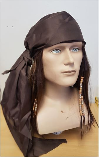 Brown pirate wig with bandanna