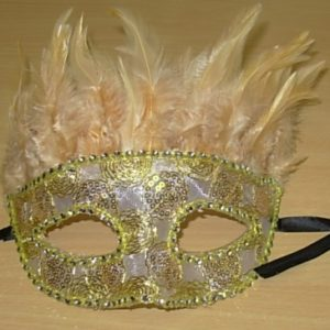 Beige feather mask