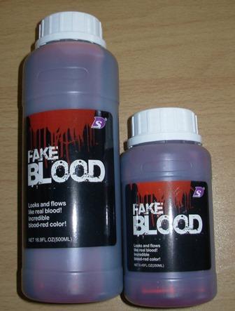 Bottles of fake blood