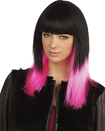 80's style wig - pink and blck
