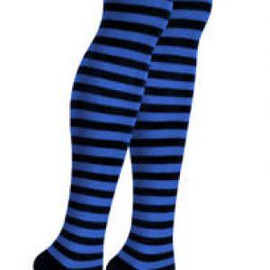Stripe thigh highs black & blue