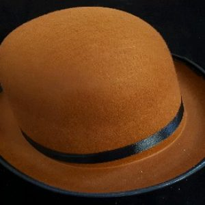 Brown felt bowler hat