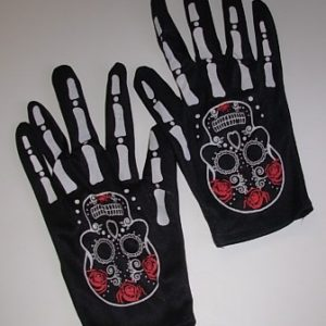 Short black gloves with skeleton bone fingers and sugar skull print