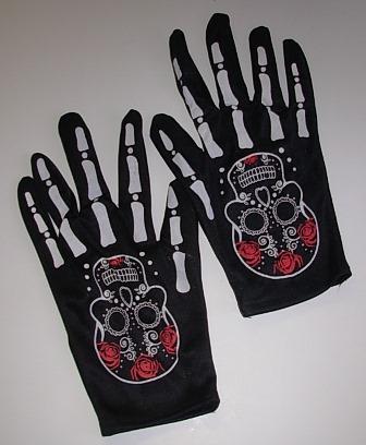 Short black gloves with skeleton bone fingers and sugar skull print