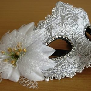 White & silver mask with rose