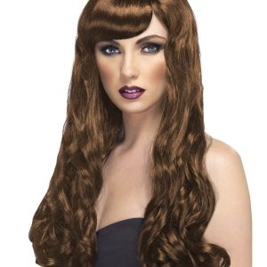 Long curly wig brown
