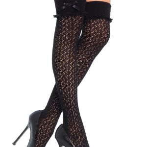 Crochet over the knee socks black