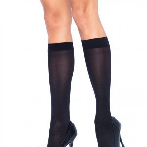 Opaque black knee highs